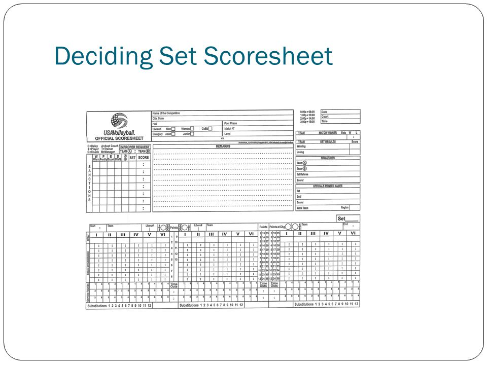 Deciding Set Scoresheet