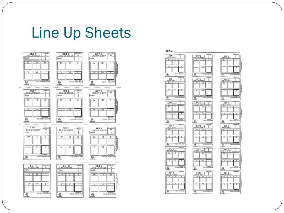 Line Up Sheets