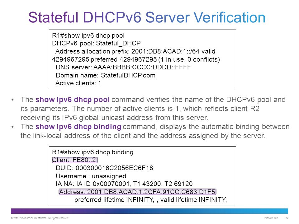 Stateful DHCPv6 Server Verification