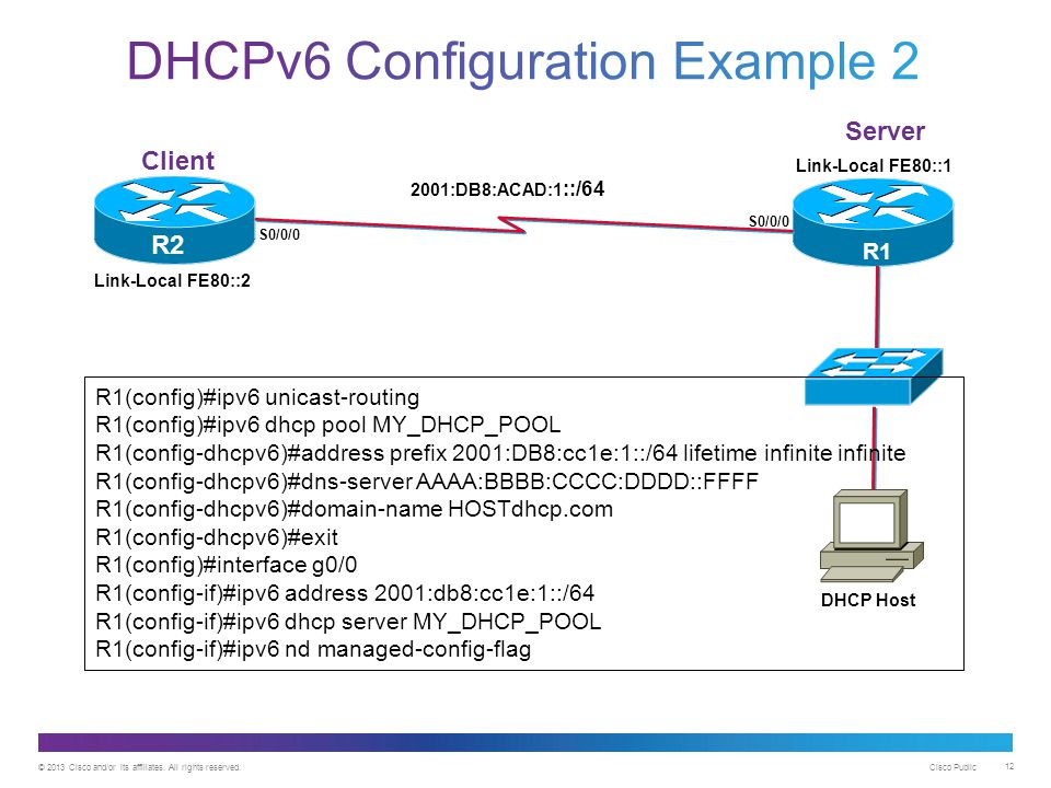 DHCPv6 Configuration Example 2