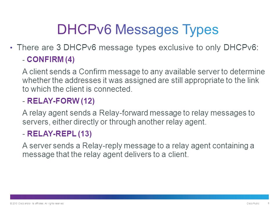 DHCPv6 Messages Types There are 3 DHCPv6 message types exclusive to only DHCPv6: - CONFIRM (4)