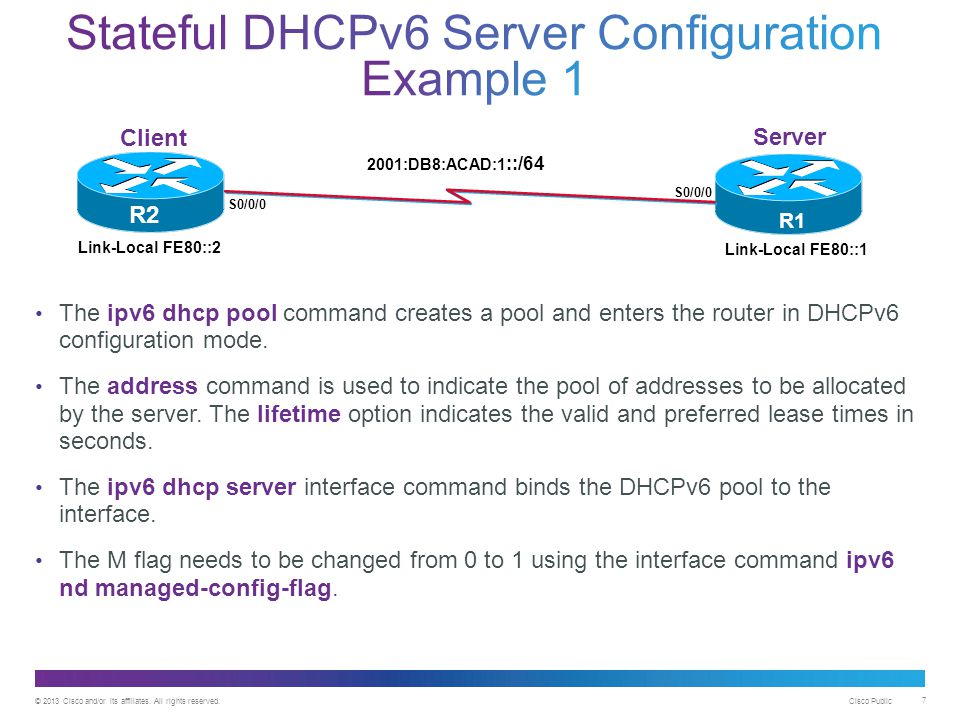 Stateful DHCPv6 Server Configuration Example 1