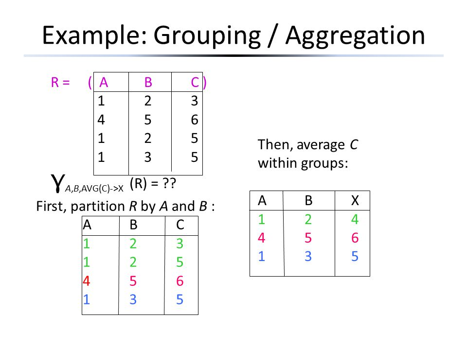 Example: Grouping / Aggregation