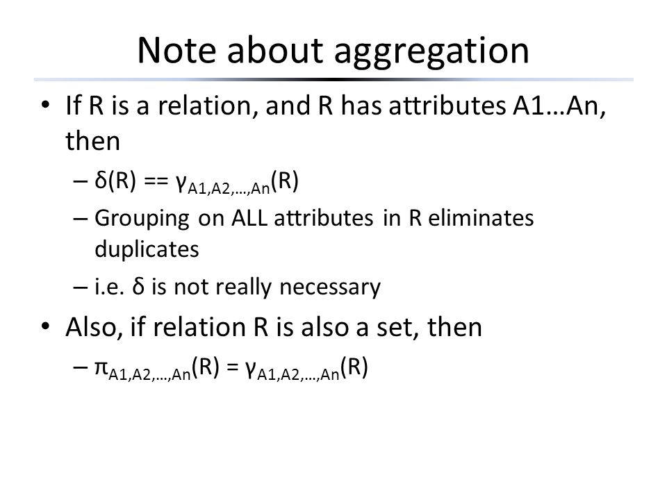 Note about aggregation