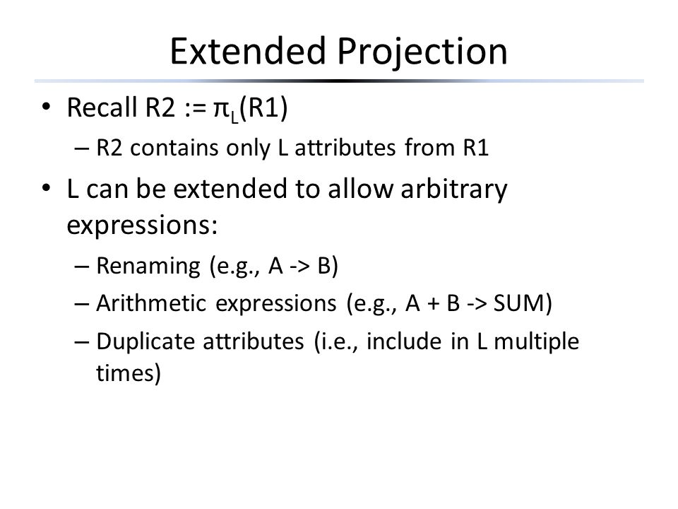 Extended Projection Recall R2 := πL(R1)