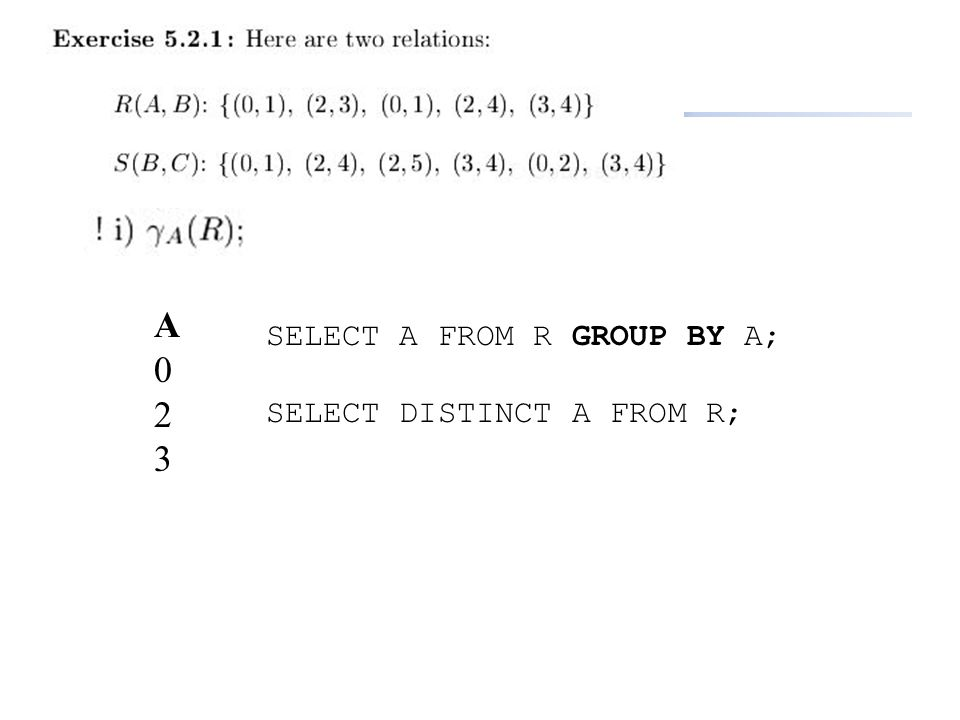 A 2 3 SELECT A FROM R GROUP BY A; SELECT DISTINCT A FROM R;