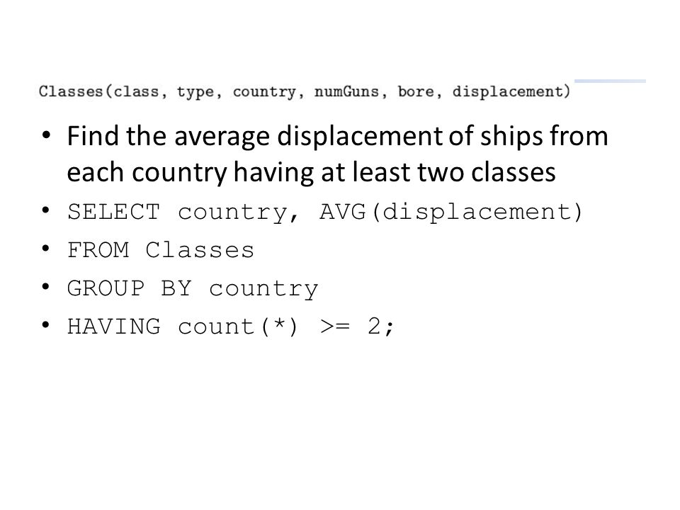 Find the average displacement of ships from each country having at least two classes