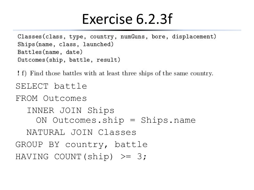 Exercise 6.2.3f SELECT battle FROM Outcomes