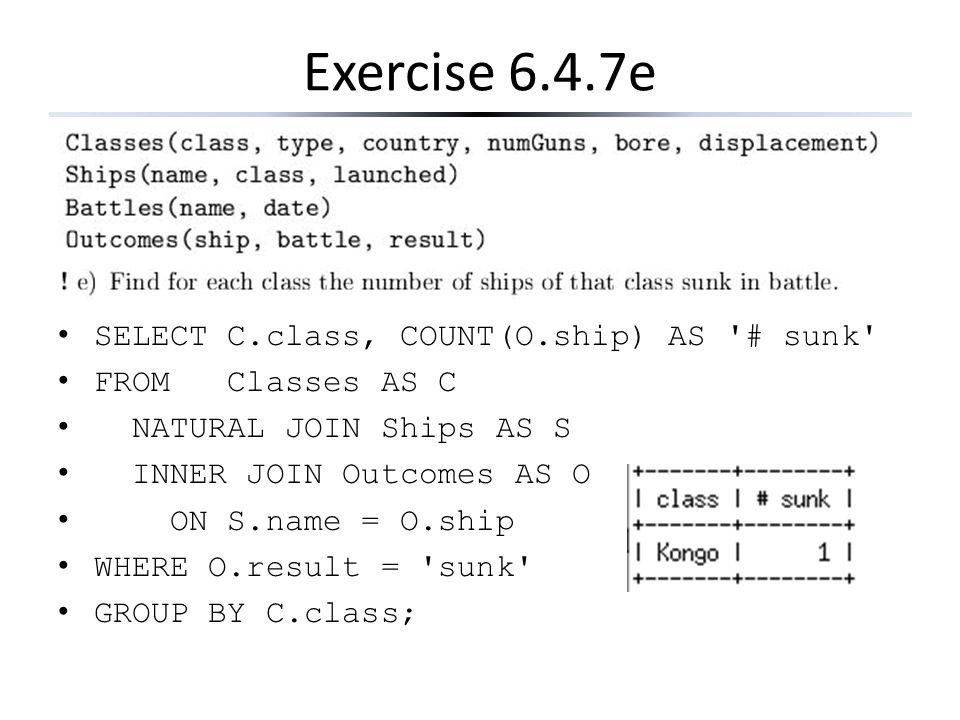 Exercise 6.4.7e SELECT C.class, COUNT(O.ship) AS # sunk