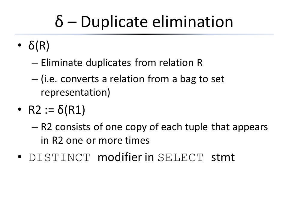δ – Duplicate elimination