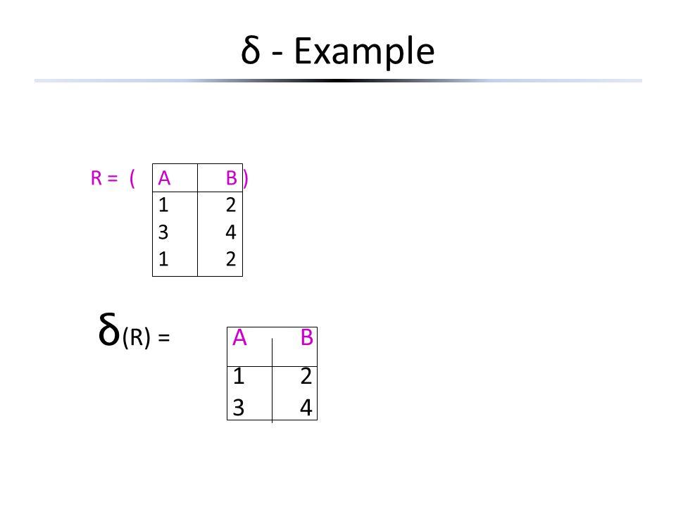 δ - Example R = ( A B ) 1 2 3 4 δ(R) = A B 1 2 3 4