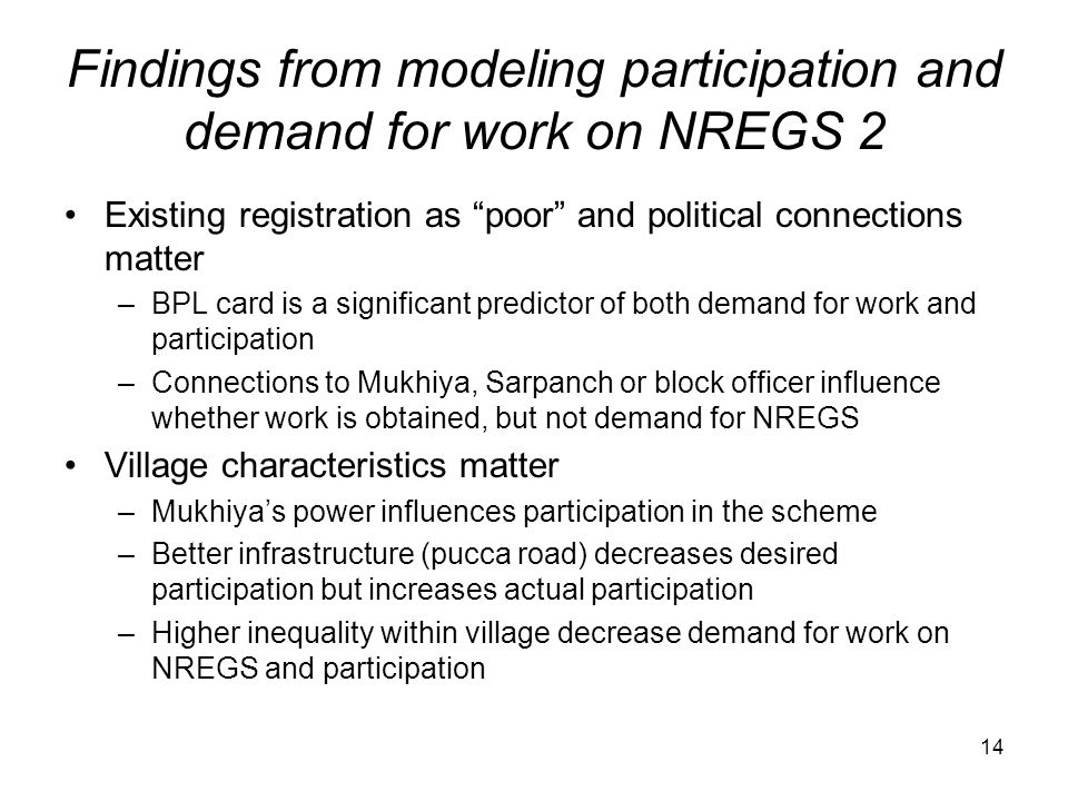 Findings from modeling participation and demand for work on NREGS 2
