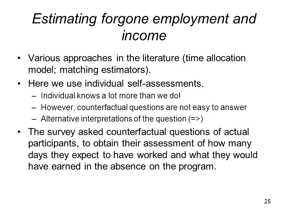 Estimating forgone employment and income