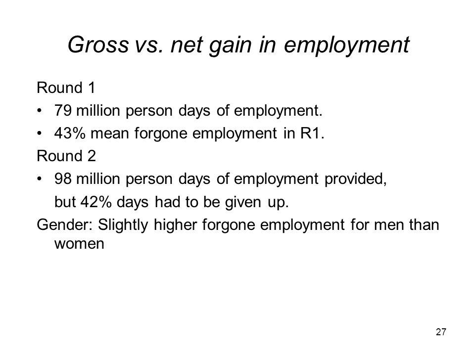 Gross vs. net gain in employment