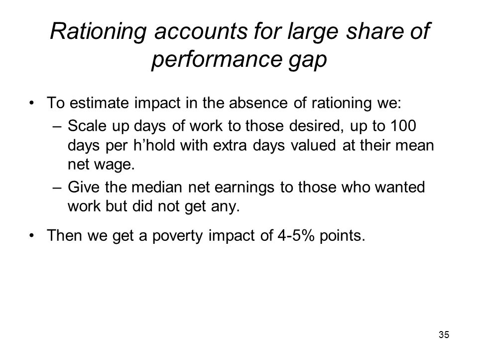Rationing accounts for large share of performance gap