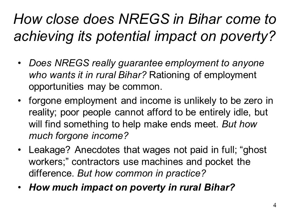 How close does NREGS in Bihar come to achieving its potential impact on poverty
