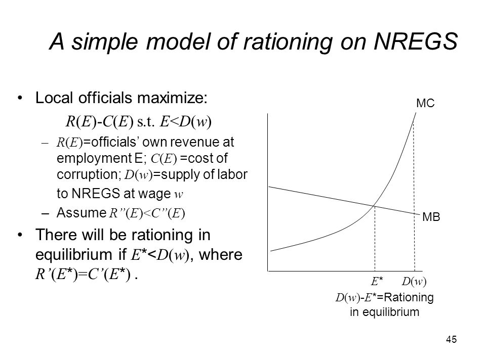 A simple model of rationing on NREGS
