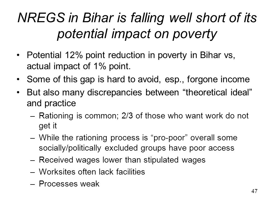 NREGS in Bihar is falling well short of its potential impact on poverty
