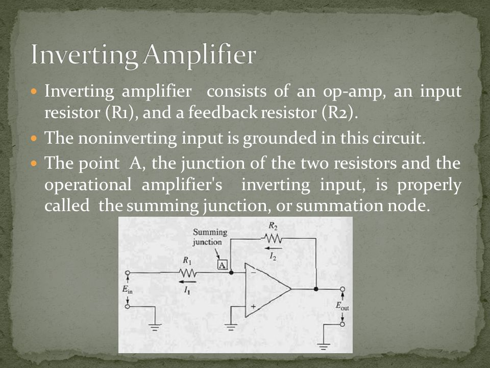 Inverting Amplifier Inverting amplifier consists of an op-amp, an input resistor (R1), and a feedback resistor (R2).