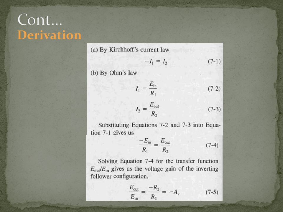 Cont… Derivation