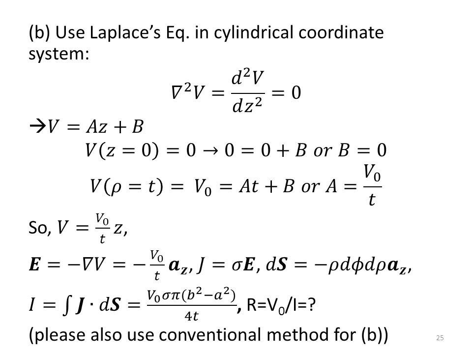 (b) Use Laplace's Eq.