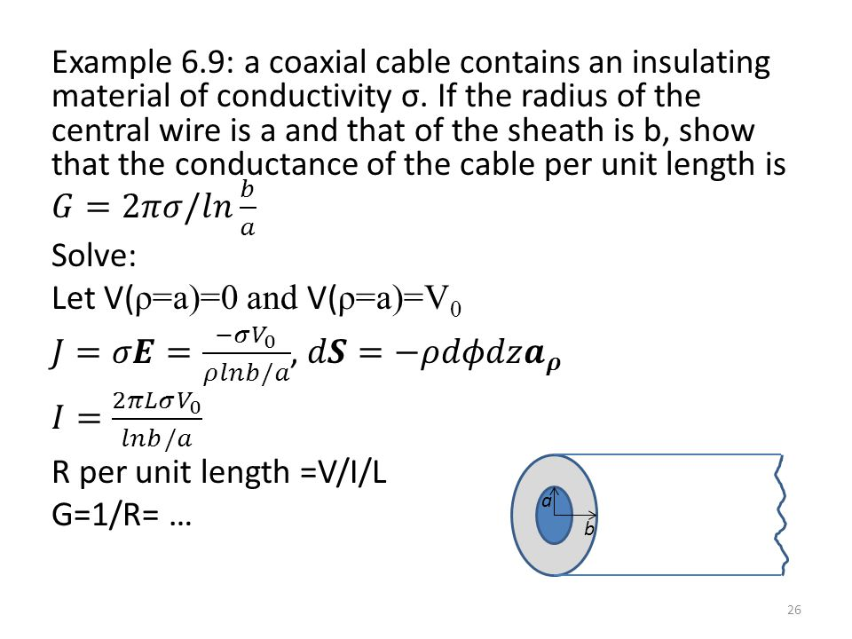 Example 6.9: a coaxial cable contains an insulating material of conductivity σ. If the radius of the central wire is a and that of the sheath is b, show that the conductance of the cable per unit length is 𝐺=2𝜋𝜎/𝑙𝑛 𝑏 𝑎 Solve: Let V(ρ=a)=0 and V(ρ=a)=V0 𝐽=𝜎𝑬= −𝜎 𝑉 0 𝜌𝑙𝑛𝑏/𝑎 , 𝑑𝑺=−𝜌𝑑𝜙𝑑𝑧 𝒂 𝝆 𝐼= 2𝜋𝐿𝜎 𝑉 0 𝑙𝑛𝑏/𝑎 R per unit length =V/I/L G=1/R= …