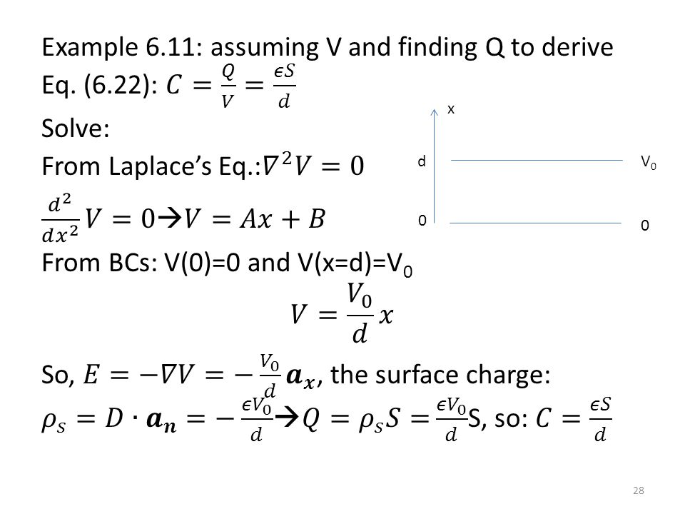 Example 6. 11: assuming V and finding Q to derive Eq. (6