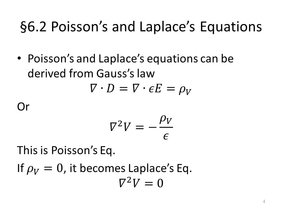 §6.2 Poisson's and Laplace's Equations