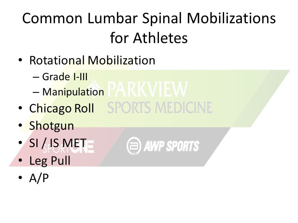 Common Lumbar Spinal Mobilizations for Athletes