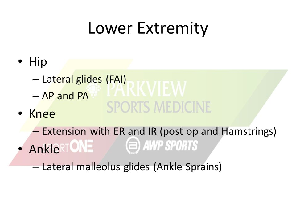 Lower Extremity Hip Knee Ankle Lateral glides (FAI) AP and PA