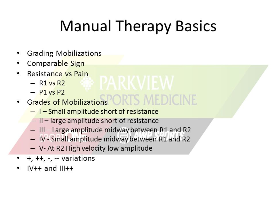 Manual Therapy Basics Grading Mobilizations Comparable Sign