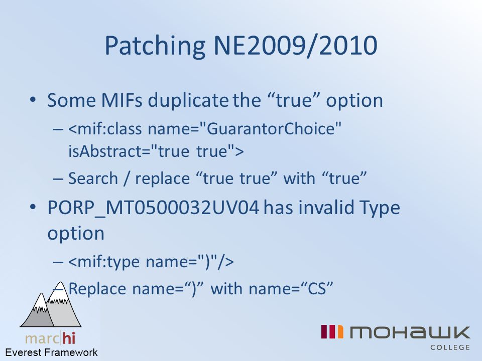 Patching NE2009/2010 Some MIFs duplicate the true option