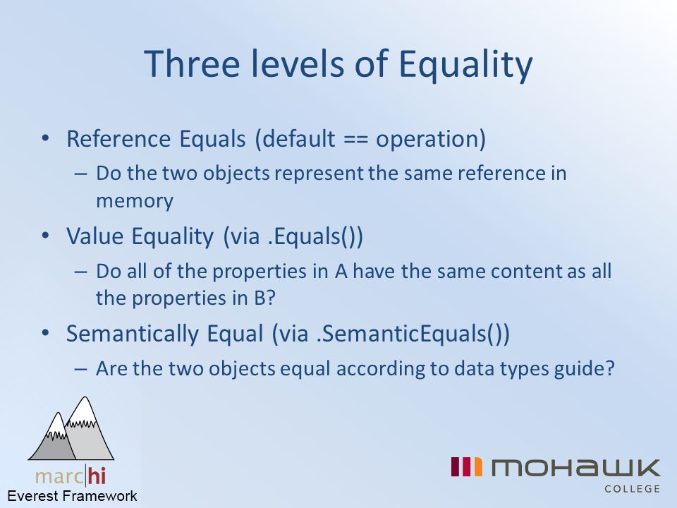 Three levels of Equality