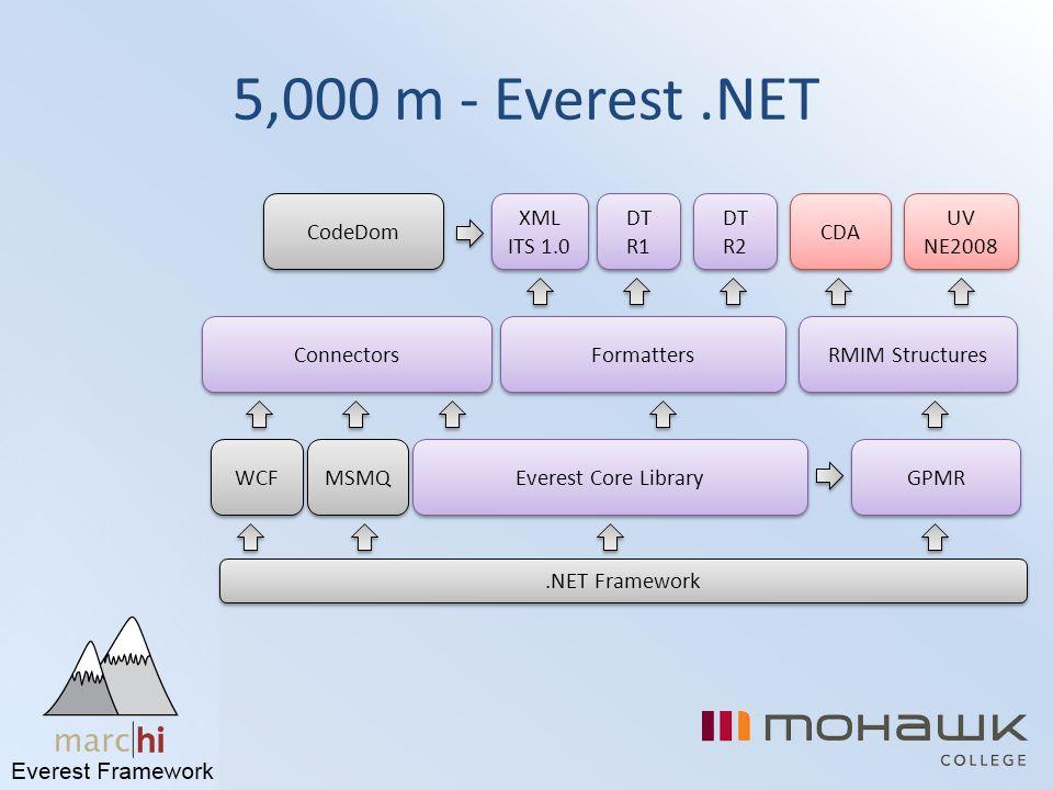 5,000 m - Everest .NET CodeDom XML ITS 1.0 DT R1 DT R2 CDA UV NE2008