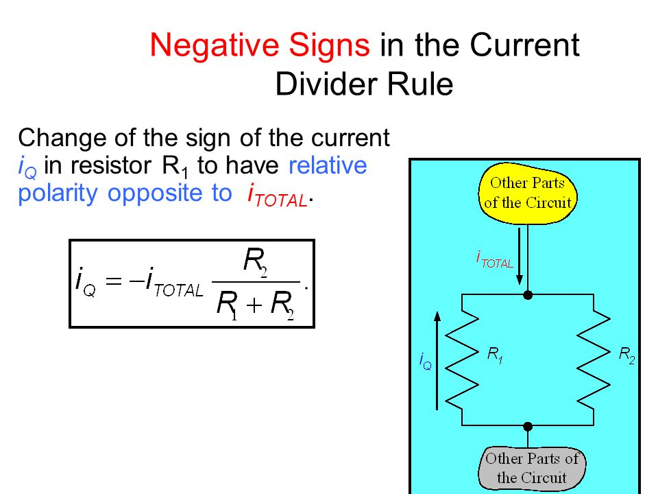 Negative Signs in the Current Divider Rule