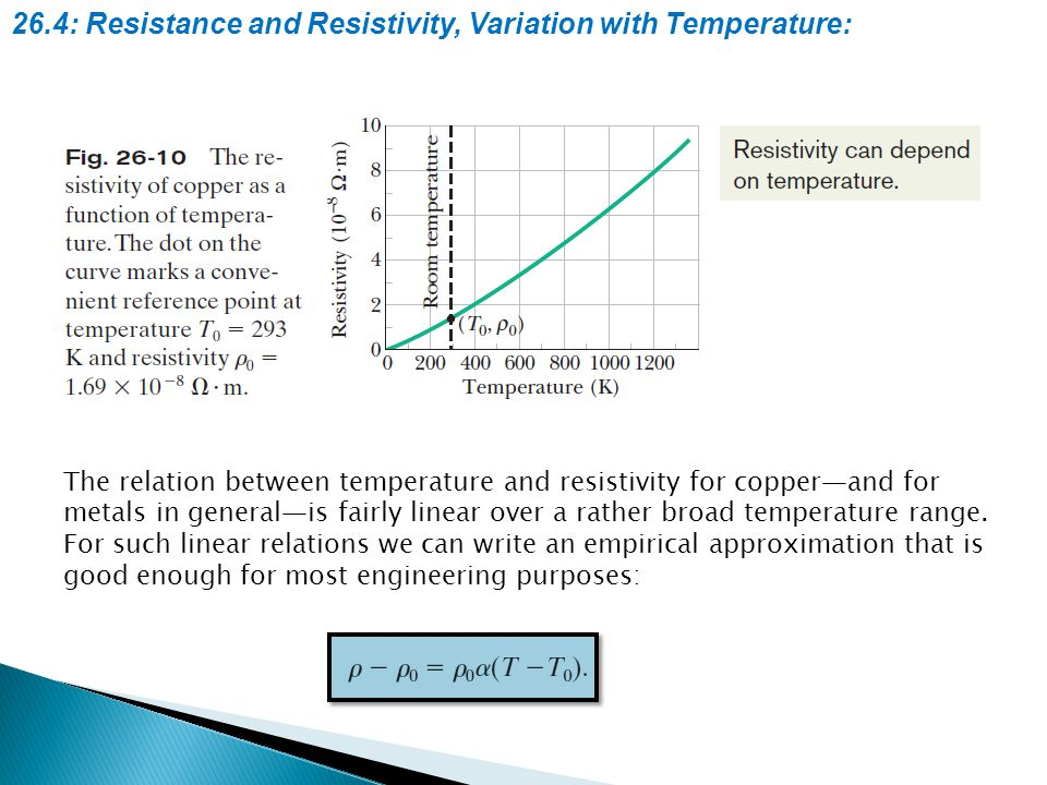 26.4: Resistance and Resistivity, Variation with Temperature: