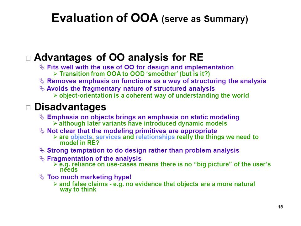Evaluation of OOA (serve as Summary)