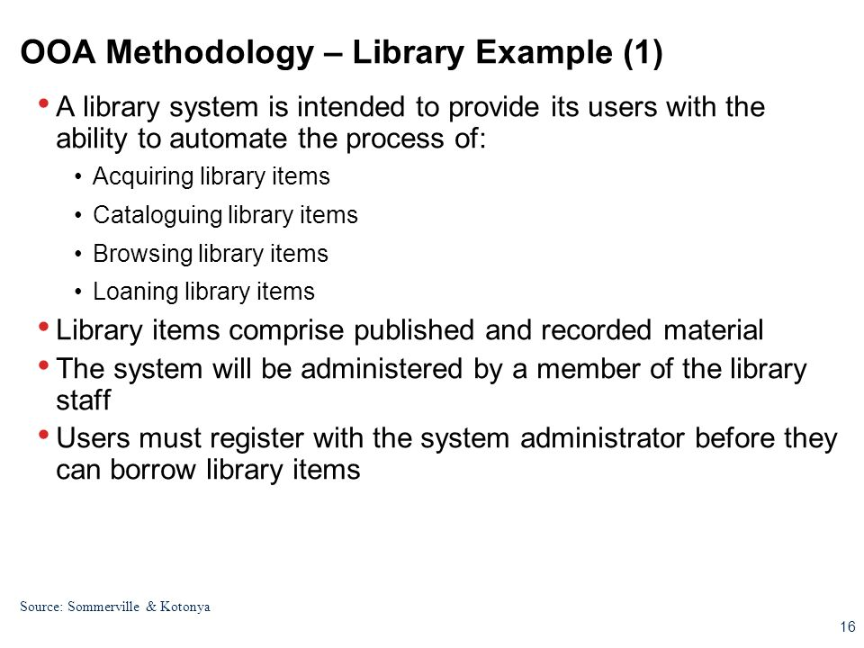 OOA Methodology – Library Example (1)