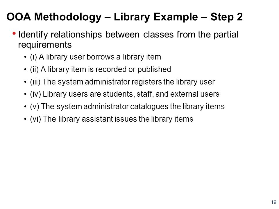 OOA Methodology – Library Example – Step 2