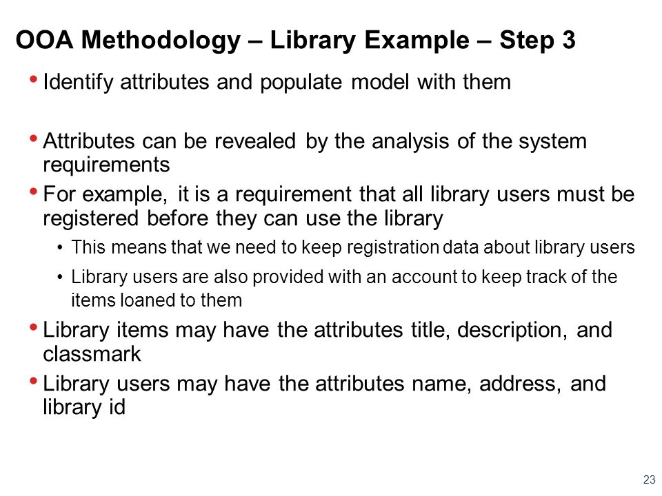 OOA Methodology – Library Example – Step 3