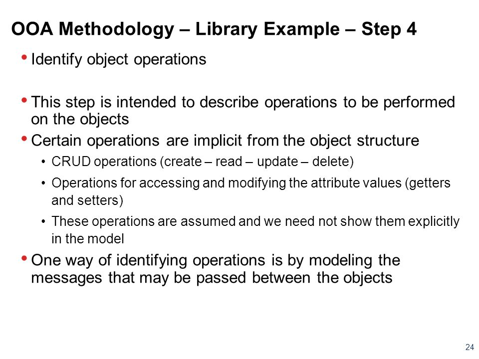 OOA Methodology – Library Example – Step 4
