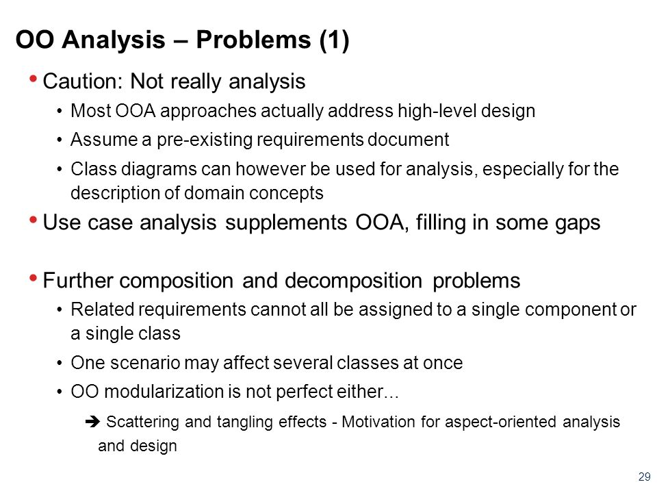 OO Analysis – Problems (1)