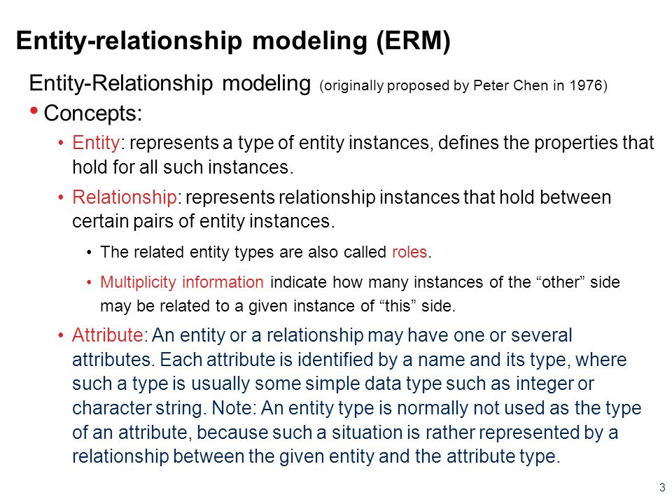 Entity-relationship modeling (ERM)