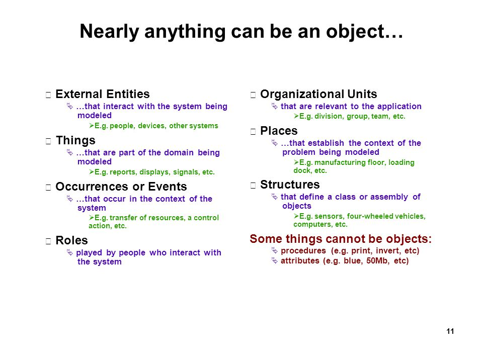 Nearly anything can be an object…