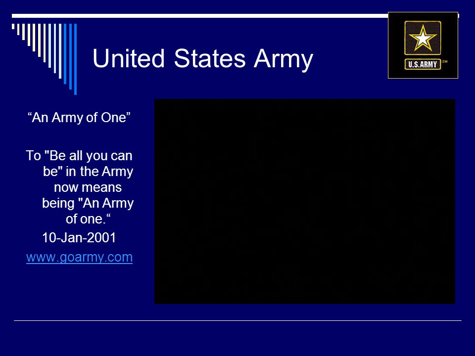 To Be all you can be in the Army now means being An Army of one.