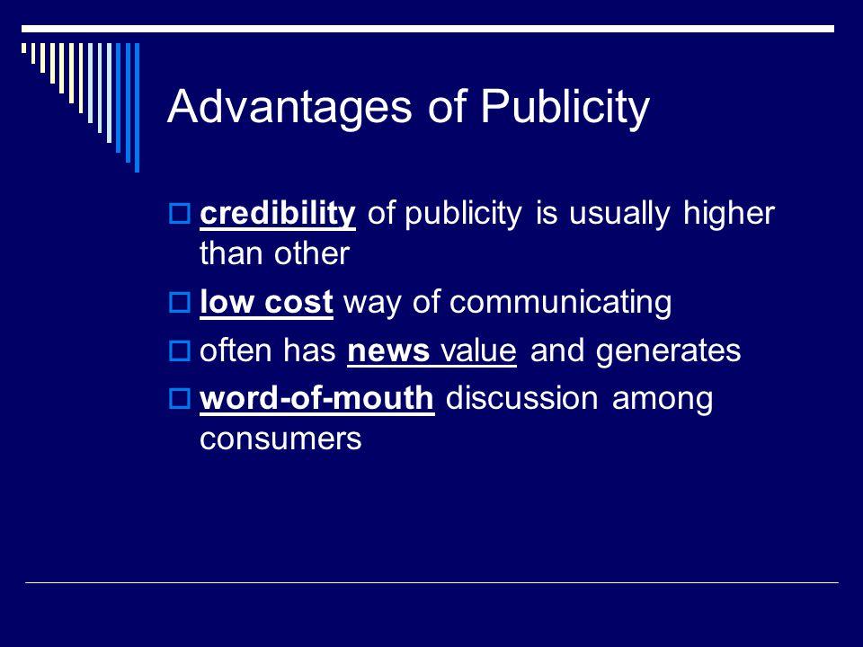 Advantages of Publicity