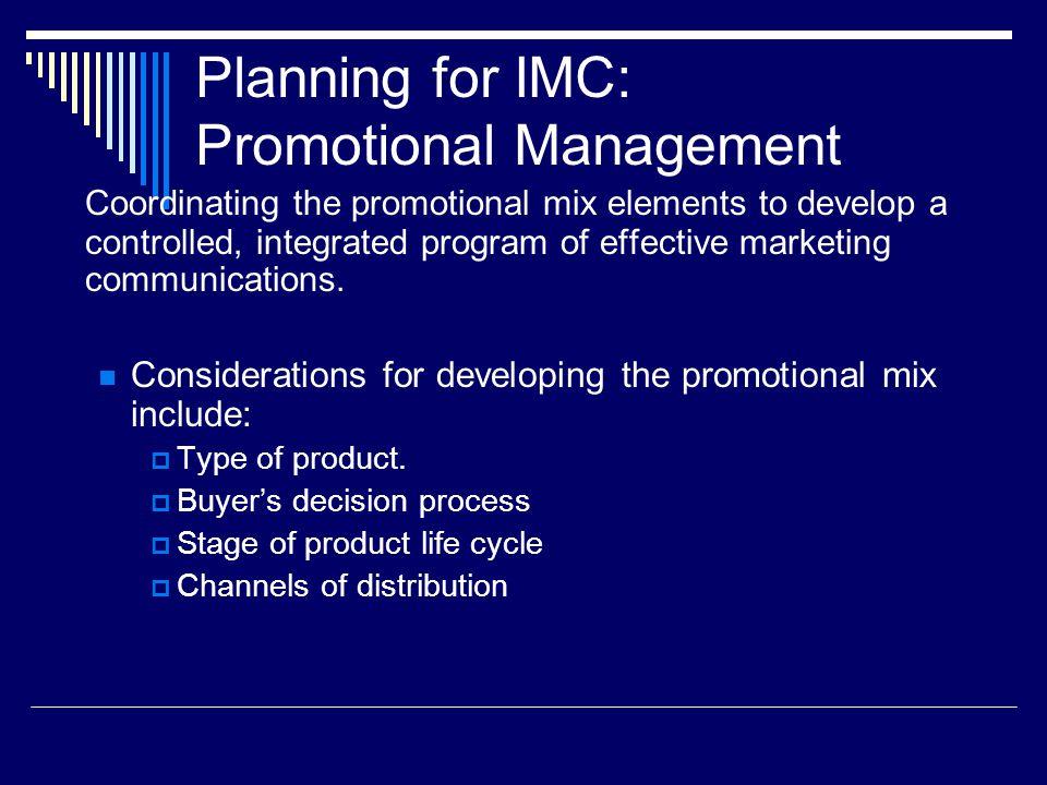 Planning for IMC: Promotional Management