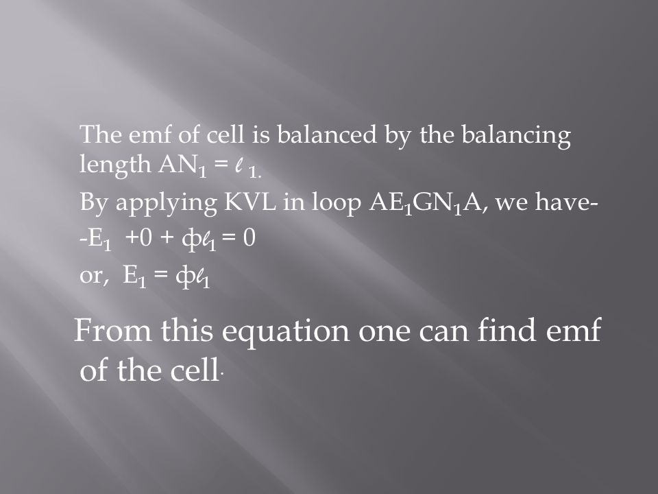 From this equation one can find emf of the cell.