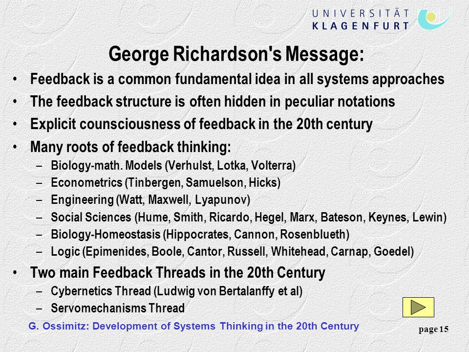 George Richardson s Message: