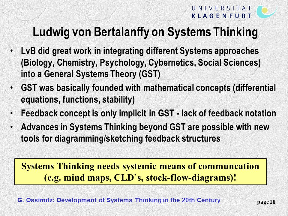 Ludwig von Bertalanffy on Systems Thinking
